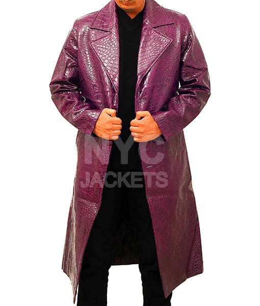 Jared Leto's Joker Purple Crocodile Coat Front