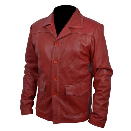 Brad Pitt Red Leather Jacket Front