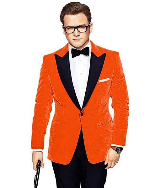 Kingsman's Taron Egerton Orange Tuxedo Front