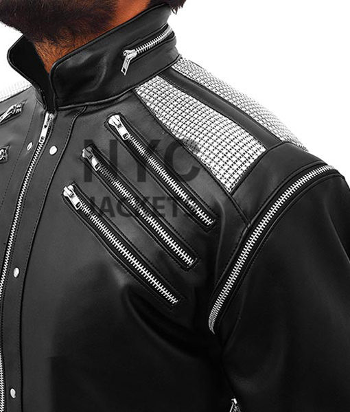 Michael-Jackson-Beat-It-Leather-Jacket-Black-Front-Closure