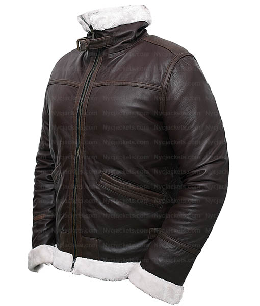 Resident Evil 4 Leon Kennedy Shearling Real Leather Jacket Nyc