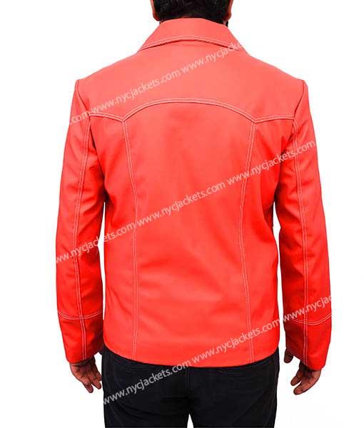 Fight Club Brad Pitt Red Leather Jacket