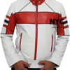 Mens Red Detailed White Biker Leather Jacket
