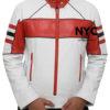 Mens Red Detailed White Biker Leather Jacket (2)