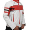 Mens Red Detailed White Biker Leather Jacket (4)