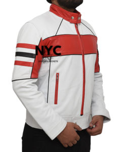 Mens Red Detailed White Biker Leather Jacket