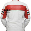 Mens Red Detailed White Biker Leather Jacket (5)