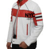 Mens Red Detailed White Biker Leather Jacket (7)