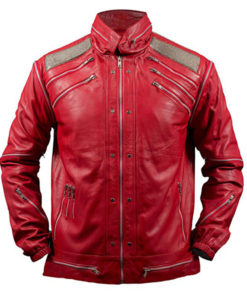 Michael Jackson Beat It Leather Jacket in Red