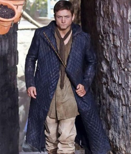 Robin-Hood-Taron-Egerton-Quilted-Leather-Coat-Front