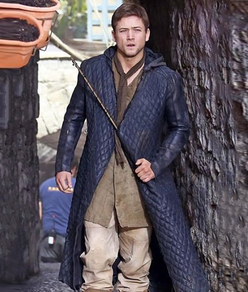 Robin Hood Taron Egerton Quilted Leather Coat