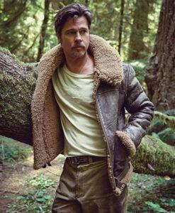 Brad Pitt Brown Shearling Jacket
