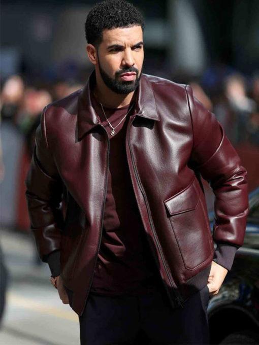 Drake Maroon Bomber Leather Jacket