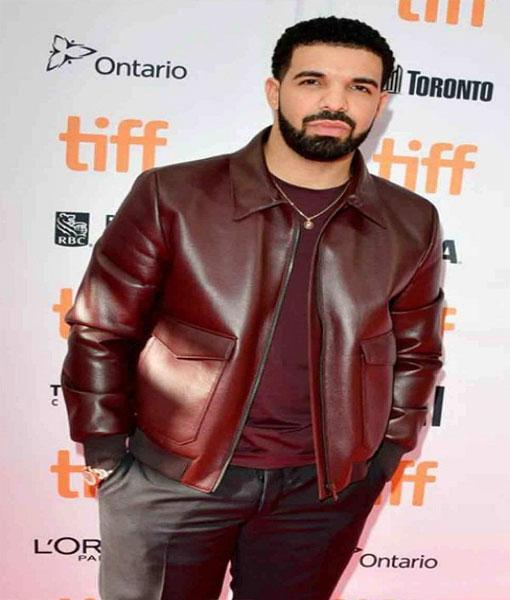 Drake Maroon Bomber Jacket