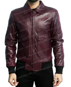 Drake Maroon Bomber Leather Jacket Back
