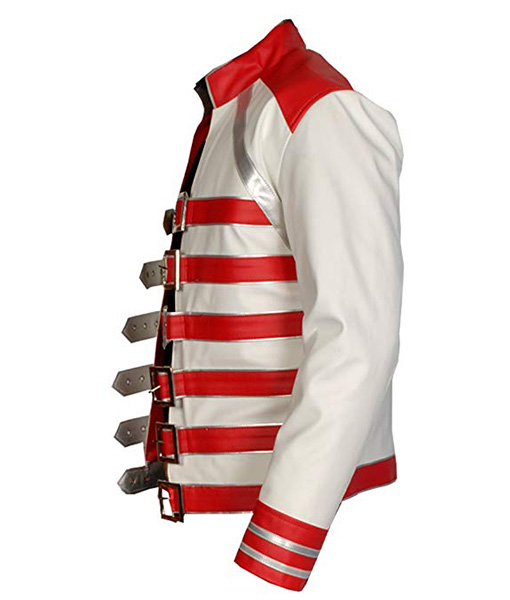 Freddie Mercury White and Red Concert Leather Jacket