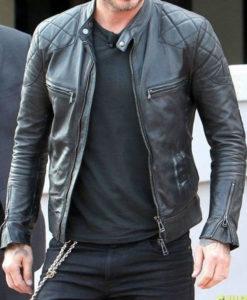 Mens Black Quilted David Beckham Jacket