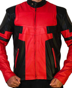 Ryan Reynolds Deadpool Red and Black Leather Jacket