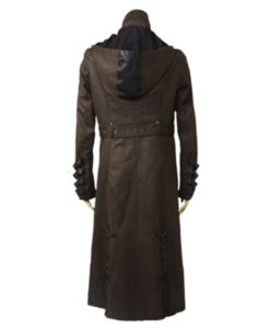Steampunk Twill Hooded Long Leather Coat