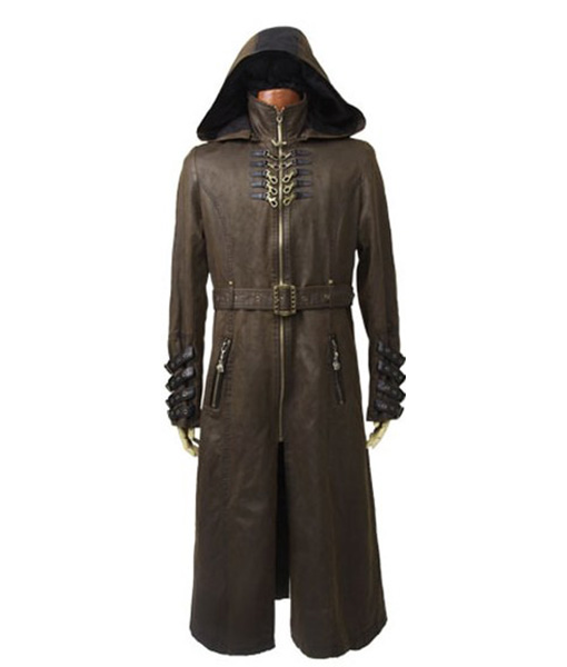 Steampunk-Twill-Hooded-Long-Leather-Coat-Front