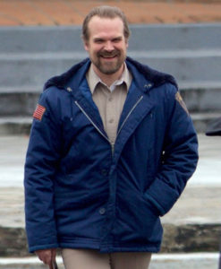 Stranger Things Jim Hopper Blue Shearling Hooded Jacket