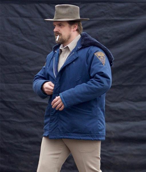 Stranger Things Jim Hopper Blue Shearling Hooded Jacket