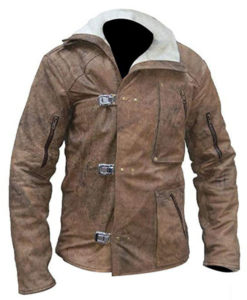 William B.J. Blazkowicz Wolfenstein Fur Brown Leather Jacket