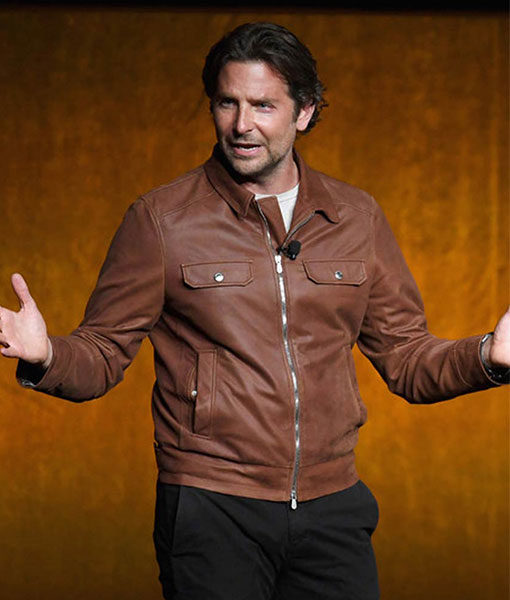 A Star Is Born Jackson Maine Brown Leather Jacket Front