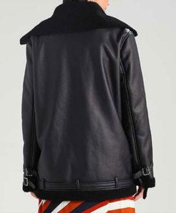 Black Shearling Leather Womens Aviator Jacket