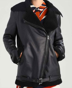 Black Shearling Leather Womens Aviator Jacket