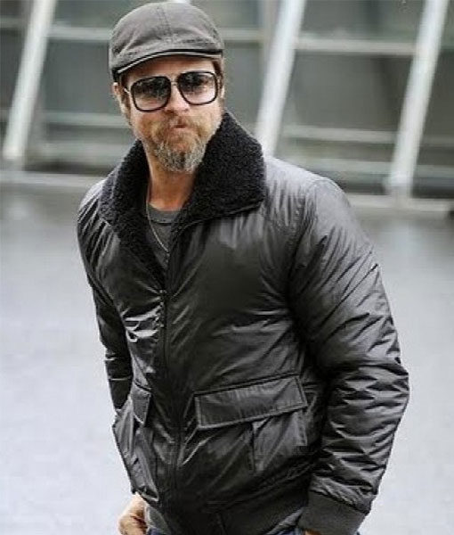 Brad Pitt Bomber Leather Jacket