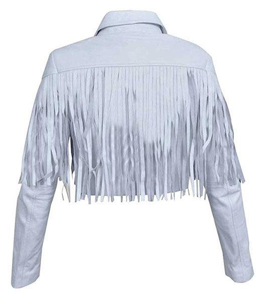 Ferris Vintage White Women Leather Fringe Jacket