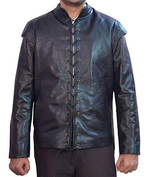 Game Of Thrones Kit Harington Black Leather Jacket Costume