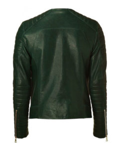 Kid Cudi Collarless Green Quilted Leather Jacket