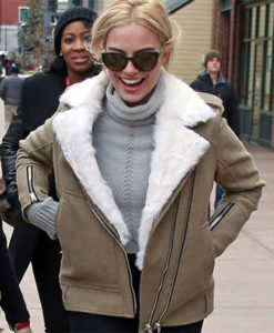 Margot Robbie Grey Aviator Jacket