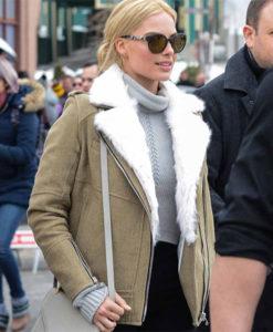 Margot Robbie Grey Aviator Jacket