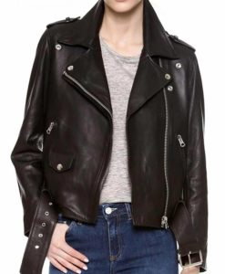 "Melania Trump's ""I really don't care, do u?"" Biker Leather Jacket in Black"