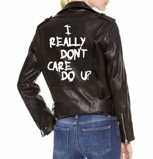 Melania Trump I Really Don't Care Motorcycle Black Leather Jacket (3)