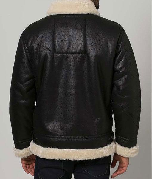 Mens Black Aviator Shearling Jacket