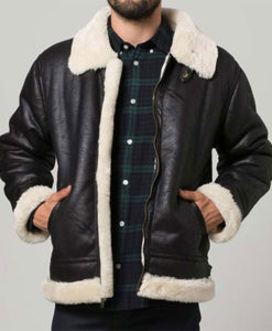 Mens Black Aviator Shearling Jacket