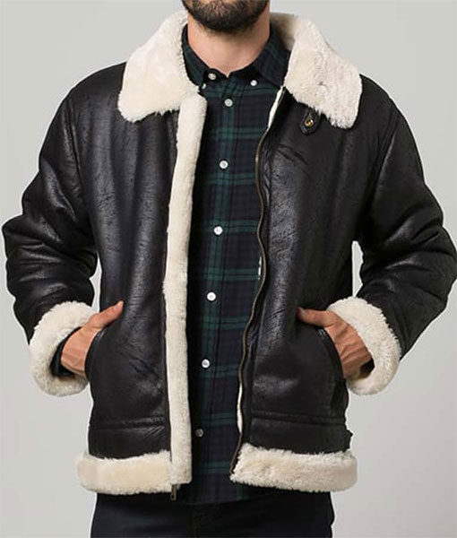 Mens-Black-Aviator-Shearling-Jacket-Front