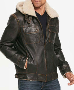 Mens Brown Waxed Hooded Aviator Jacket