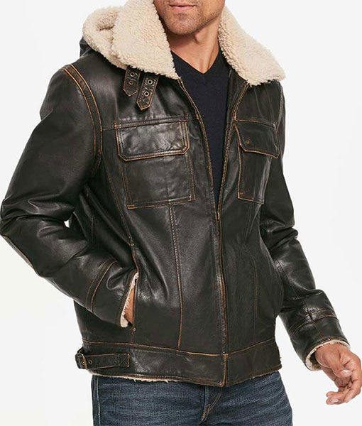 Mens Brown Waxed Hooded Aviator Jacket