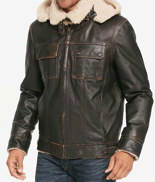 Mens-Brown-Waxed-Hooded-Aviator-Jacket-Left