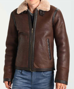Mens Dark Brown Leather Aviator Style Jacket