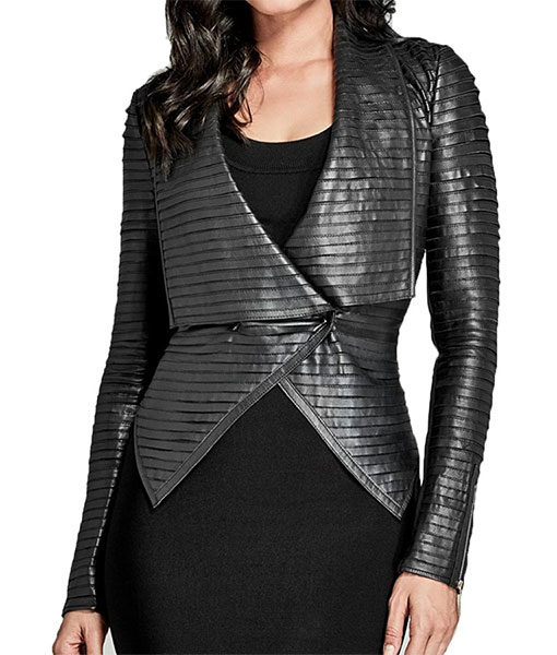 Riverdale-Cheryl-Blossom-Black-Pleated-Jacket-Front