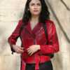 The Protector Zeynep Red Leather Jacket
