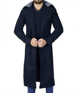 Tom Long Black Trench Coat With Fur Collar