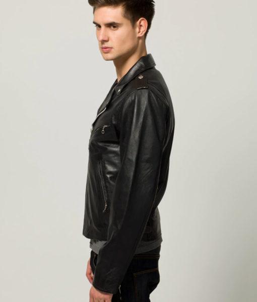 Almeida Mens Casual Slimfit Black Biker Leather Jacket