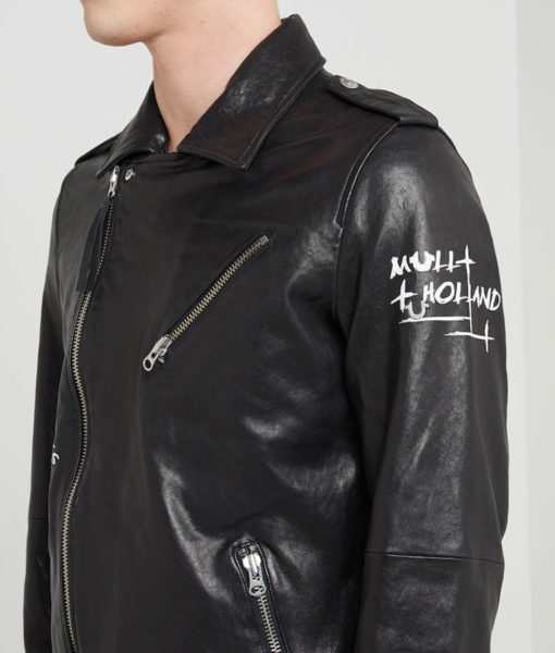 Charlie Mens Lapel Collar Black Motorcycle Leather Jacket
